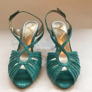 Nina Shoes - Turquoise Nina open toe heels